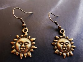"Vintage Metal Ohrringe ""Sonne"" in Bronze"