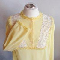 Vintage Nachtkleid Nachthemd Größe S 36 Soft Pastell Gelb Weiß Flauschig Rüschen Spitze Kleid Dessous Flanell
