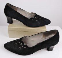 Vintage Nostalgie Pumps Gabor fashion Größe 7 40,5 Schwarz Velours Leder Viktorianisch Schuhe Slipper Spitze Cut Out 50er