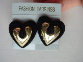 Vintage -  Ohrclips Herzen schwarz gold- Metall - 90er Jahre Modeschmuck