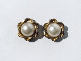Vintage Ohrclips mit Perle - vergoldet