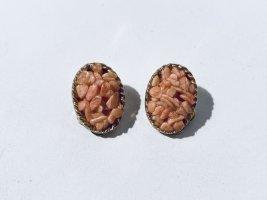 """Vintage Ohrclips oval mit rosa Steinen - """"Jem 73"""""""