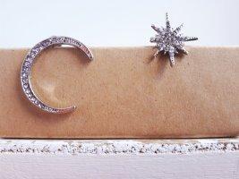 Vintage Ohrringe Asymmetrische Mond Stern 925 Sterling Silber Pin ungetragen