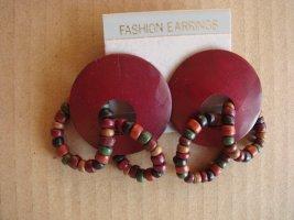 Vintage - Ohrringe Holz weinrot Perlen grün blau kupfe Ohrstecker - Modeschmuck 90er Jahre