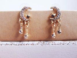 Vintage Ohrringe in Goldene Farbe mit Zirkone Mond Stern 925 Sterling Silber Pin ungetragen