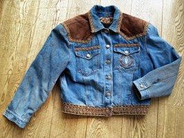 Vintage Oversize JEANS JACKE DENIM blau Velourleder brokat Stickerei Steppfutter *Vintage *