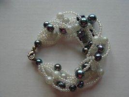 Vintage - Perlenarmband Armband mit Perlen creme und grau - Modeschmuck 80er Jahre