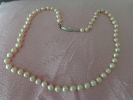 Pearl Necklace cream-silver-colored real silver