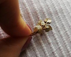Vintage Pin Anstecker Blätter leaves Metall gold grün