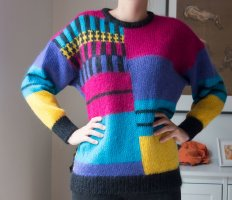 Vintage Pullover Wolle Mohair Retro Muster Bunt funky Gr. S/ M