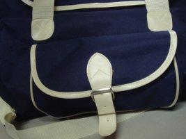 Vintage - Reisetasche Sporttasche  90er Jahren - Stoff blau weiß Tasche