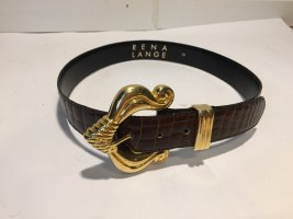 Rena Lange Leather Belt dark brown-gold-colored leather