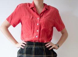 Vintage Retro 100% Seide Seidenbluse Oversized Pfirsich Coral Rosa Gr. L XL