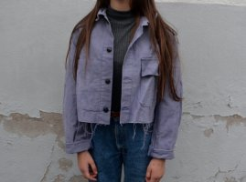 Vintage Retro Cropped Jacke Oversized Fit Paper Look