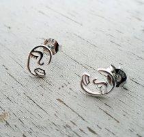 Vintage Retro Gesicht Ohrringe 925 Sterling Silber ungetragen