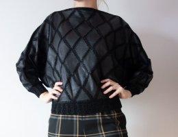 Crochet Sweater black leather