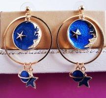 Vintage Wiszące kolczyki złoto-niebieski