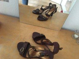 Unisa Sandalias de tacón de tiras marrón oscuro Cuero