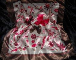 Vintage Schmetterlinge Blumen Blüten Schal Tuch h m creme braun w Neu Edel Boho