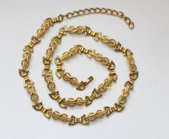 Vintage Schmuck Gürtel gold Steigbügel Eternity braided Italy Belt