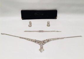 Vintage Schmuck-Set Strass Collier Armband und Ohrclips