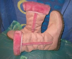Original Vintage Futrzane buty jasny różowy-różowy Skóra