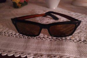 Original Vintage Kwadratowe okulary przeciwsłoneczne czarny-cognac