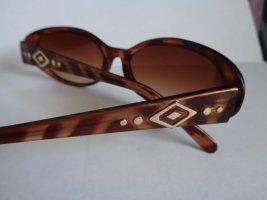 Vintage Gafas de sol ovaladas marrón-naranja dorado