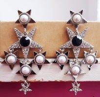 Vintage Sterne Ohrringe in Silberne Farbe