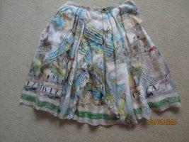 Silk Skirt natural white-lime-green silk