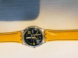 Watch With Leather Strap black-yellow mixture fibre