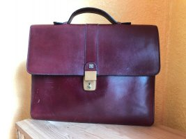 Vintage Porte-documents bordeau-brun rouge cuir