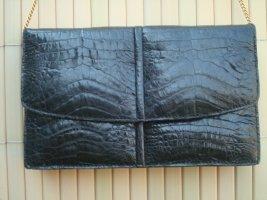 Vintage-Tasche- Leder mit Krokoprägung schwarz 21.5 x 13.5 cm