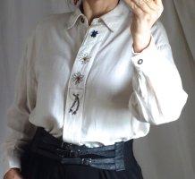 Vintage Trachtenbluse, Marke: RS Landgut, Retro, Natur, bestickt, Edelweiß, Stickerei, weiche Baumwolle / Viskose / Leinen, Schulterpolster, breite Schultern, sehr guter Zustand, Gr. 42