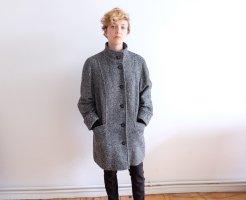 Manteau mi-saison noir-blanc laine