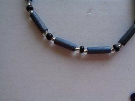 Vintage - Venus line Armband längliche Perlen graublau schwarz - 90er Jahre