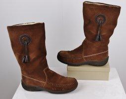 Vintage Wildleder Boots Stiefel Rieker Größe 38 Braun Indianer Western Fell Bommel