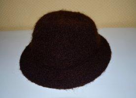 Vintage Wollen hoed donkerbruin-zwart bruin