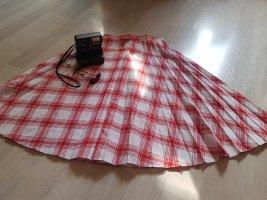 Vintage Dressing Plaid Skirt brick red-white