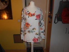 Viola Borghi - weißes Langarmshirt mit Blumemuster Gr. S
