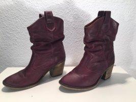 Violette Leder-Stiefeletten Gr.37