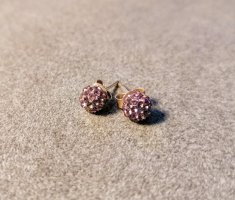 violette Ohrstecker - Kugeln mit Klitzersteinen
