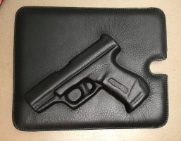 * VLIEGER & VANDAM * NEU !  IPad CASE TABLETT HÜLLE guardian angel PISTOL BAG LEDER SCHWARZ