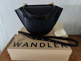 WANDLER Hortensia Croc Medium Bag Navy Blau Handtasche Leder NEU