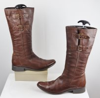 Janet D Wide Calf Boots brown-cognac-coloured leather