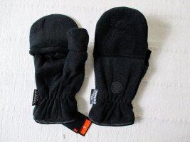Warme Handschuhe Fingerlos Fäustlinge 2 in 1 Thinsulate Fleece Schwarz Klappe