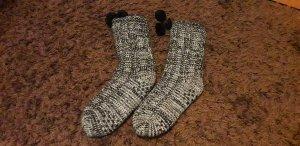 Pantoufles-chaussette noir-blanc tissu mixte