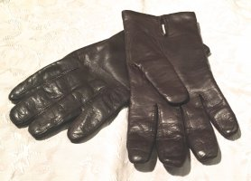 Leather Gloves black brown-cream leather