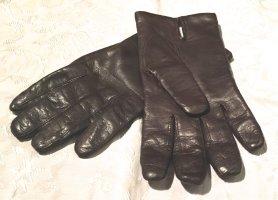 Rękawiczki skórzane czarno-brązowy-kremowy Skóra