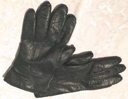 Leather Gloves black-cream leather